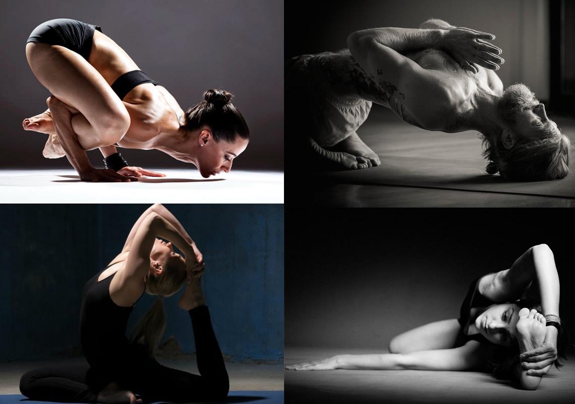 Fotografie di persone che praticano l'Ashtanga Yoga